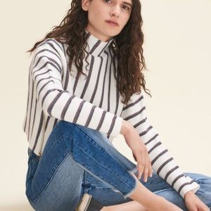 NEW Maje Matina Striped Square Mock Neck Sweater L